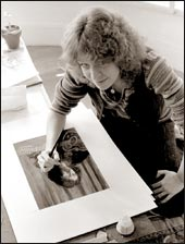 Cin Abney Tiedeman working on my portrait for the back cover of Modern Phonography, 1978.