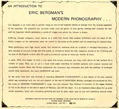An Introduction to Eric Bergman's Modern Phonography insert.