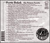 The back of the Patron Saints' Proto Bohob CD.